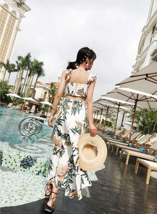 floral ruffled overlap maxi dress