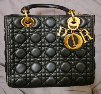 Mini lady Dior lambskin bag.