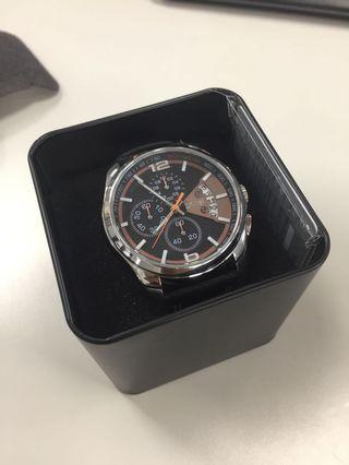 🚚 SKMEI 三眼皮革錶帶防水手錶 男錶 運動錶