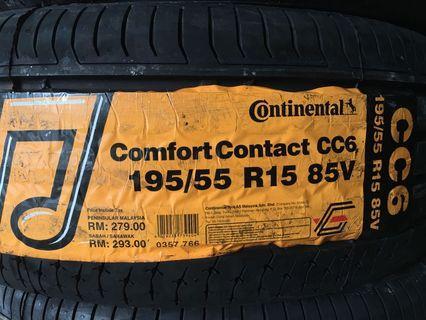 195/55/15 Continental Comfort Contact 6