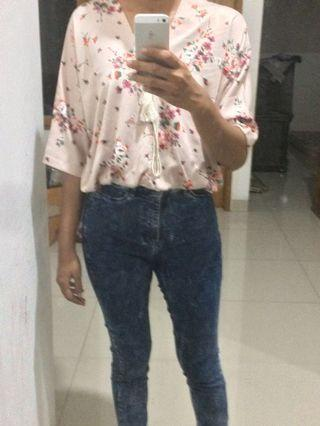 Flowery boho blouse