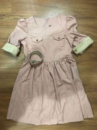 Dusty Pink Dress with Polka Dot sleeve (from Korea)