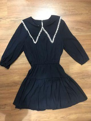 V Collared Tunic Dress in Navy (from Korea)