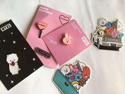 BT21 badge / file and blackpink badge