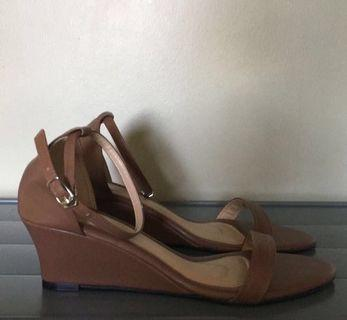 Brown Ankle Strap Wedges