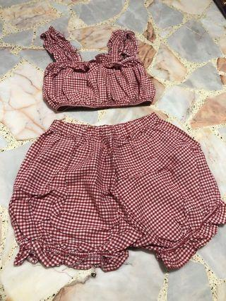 BN vintage red babydoll pumpkin shorts + crop ruffle bralet top set