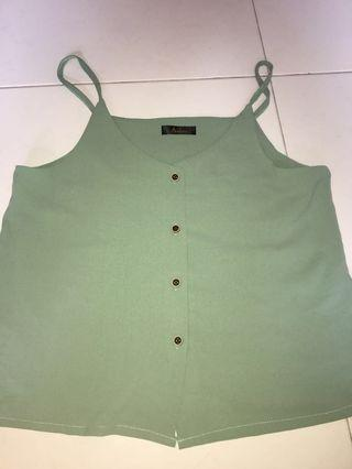 green button up spag top