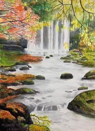 山水油畫一張