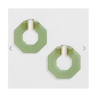 BNWT ASOS DESIGN heptagon hoop earrings in frosted khaki resin