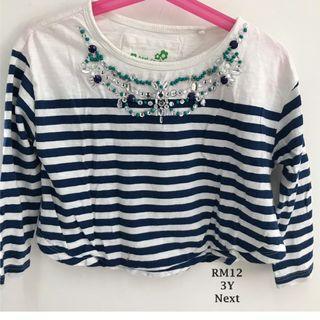 NEXT Oversized Stripe Top with Embelishments for 3yo Girls