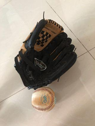 🚚 Lightly used kids Rawlings baseball glove and ball