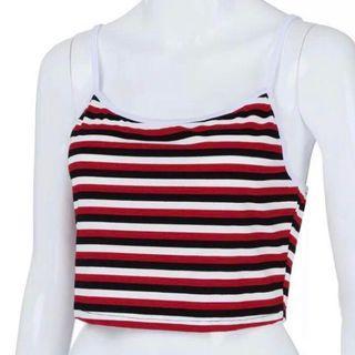 striped ribbed spag / cami top