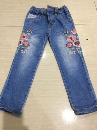 Kids Pants with Floral Embroidery