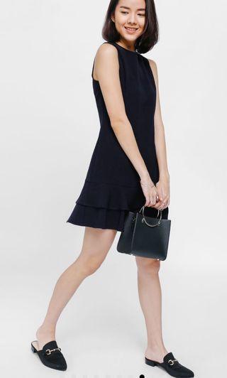 Love Bonito Shae Asymmetrical Layered Ruffle Dress  Navy