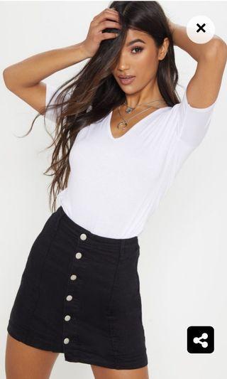 Black denim skirt - high waisted