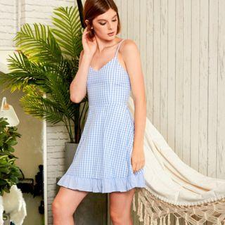 LOTTA GINGHAM SKATER DRESS IN SKY BLUE