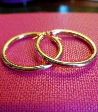 14K585 Yellow Gold 30mm Loop Earrings                ❤New & Genuine ❤              14K585 黃金大圈耳環