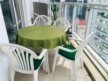 Outdoor Furniture- round table, 4 chairs w cushions