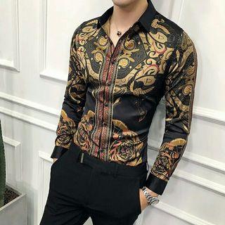 Black Gold Print Shirt Slim Fit Party Club Shirt Men Male