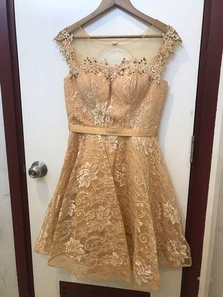 Gold Party Dress Lace Mewah
