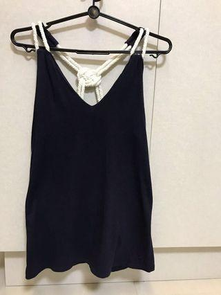 """Navy Blue Nautical Style Top with Nylon """"ropes"""""""