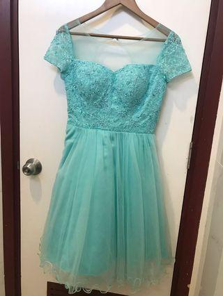 Tosca Party Dress Lace Mewah , Gaun Pesta Hijau Tosca