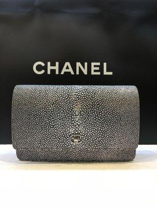 Chanel Iridescent Silver Exotic WOC