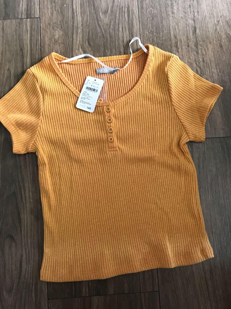 100% NEW Sixty Eight yellow button front top