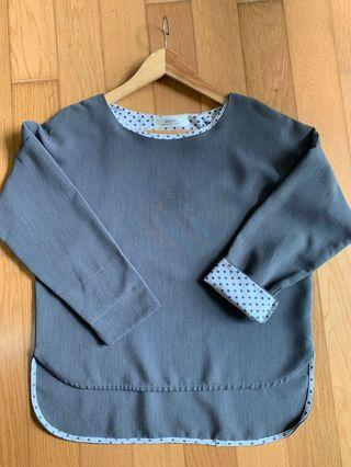 Grey top with polka dots inner