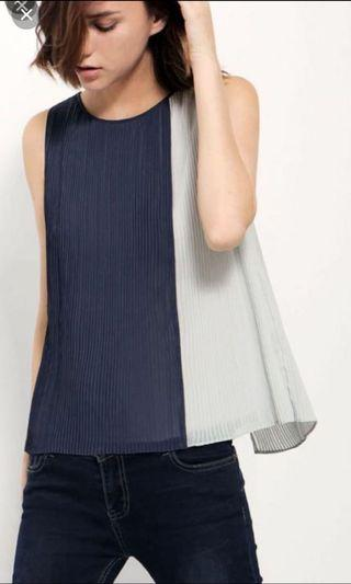 Saturday Club Pleated Top with Back Details