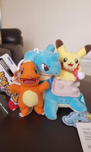 Pokemon Centre Jewel Lapras X Pikachu keychain plush toys
