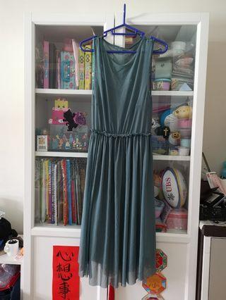 全新歐美2件套靚綠色紗裙