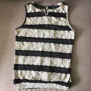 [FREE MAIL] Black and White Pattern Blouse