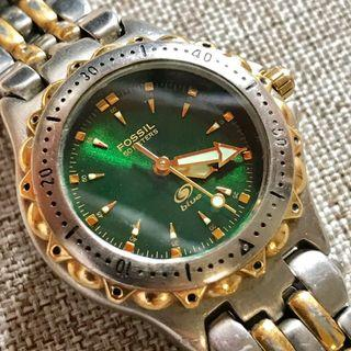FOSSIL Blue AM 3216 Vintage Original Green Dial LUME Gold Index WR 50M Stainless Steel