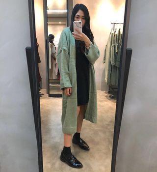 🚚 全新 韓國購入 韓製 正韓春天綠 蘋果綠 青草綠 針織長版外套 💚🇰🇷