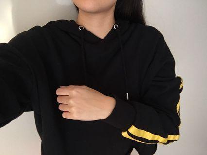 Glassons black and yellow fleece hoodie