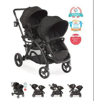 Contours option tandem stroller black