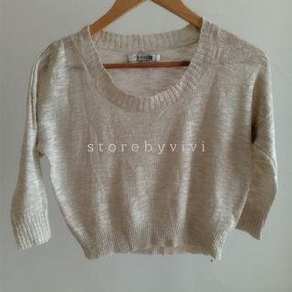 Forever21 Knit Crop Top Gold