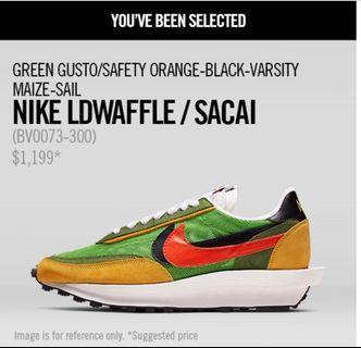Nike x Sacai Lowaffle Green US5.5