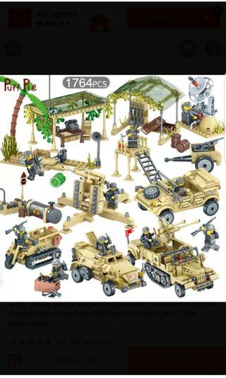 Lego-compatible WWII military vehicles and guns ultimate playset