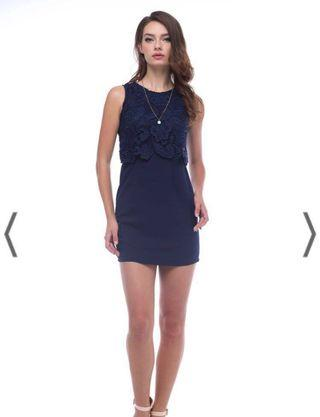 TresLoveChic Crochet Overlay Shift Dress in Navy blue