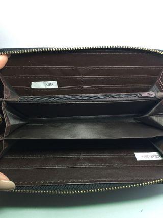 Black wallet / long wallet / zippered wallet / animal skin wallet / tassle wallet