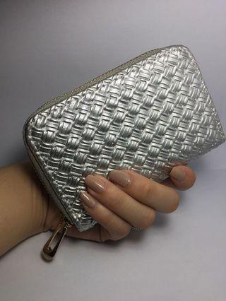 Silver wallet / short wallet / zippered wallet / card wallet / coin wallet