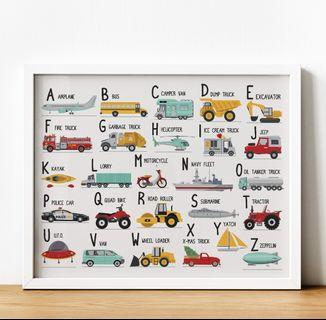 Alphabet (Transportation Theme) Poster