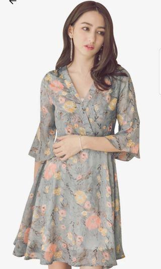 Floral Ruffle Sleeve Dress