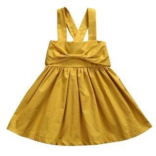 Simple Bow Dress in Mustard / Red