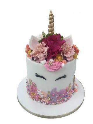Petite Floral Unicorn Birthday Celebration Cake