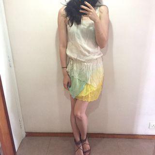 Cream color chiffon Summer dress雪紡米色夏日裙