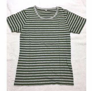 Muji 無印良品 灰綠條紋純棉上衣 16