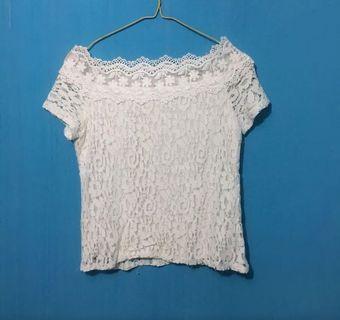 #bapau white lace top